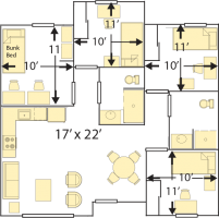 College Creek 4-5 Person Apartment, Double 11' x10'
